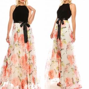 SLNY Formal Maxi Dress Fit & Flair Organza Skirt